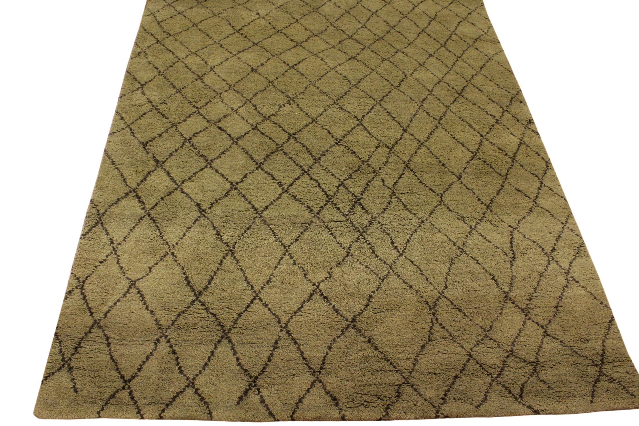 Crosslin Hand Knotted Wool Green/Dark Brown Indoor Area Rug Rug Size: Rectangle 4' x 6'