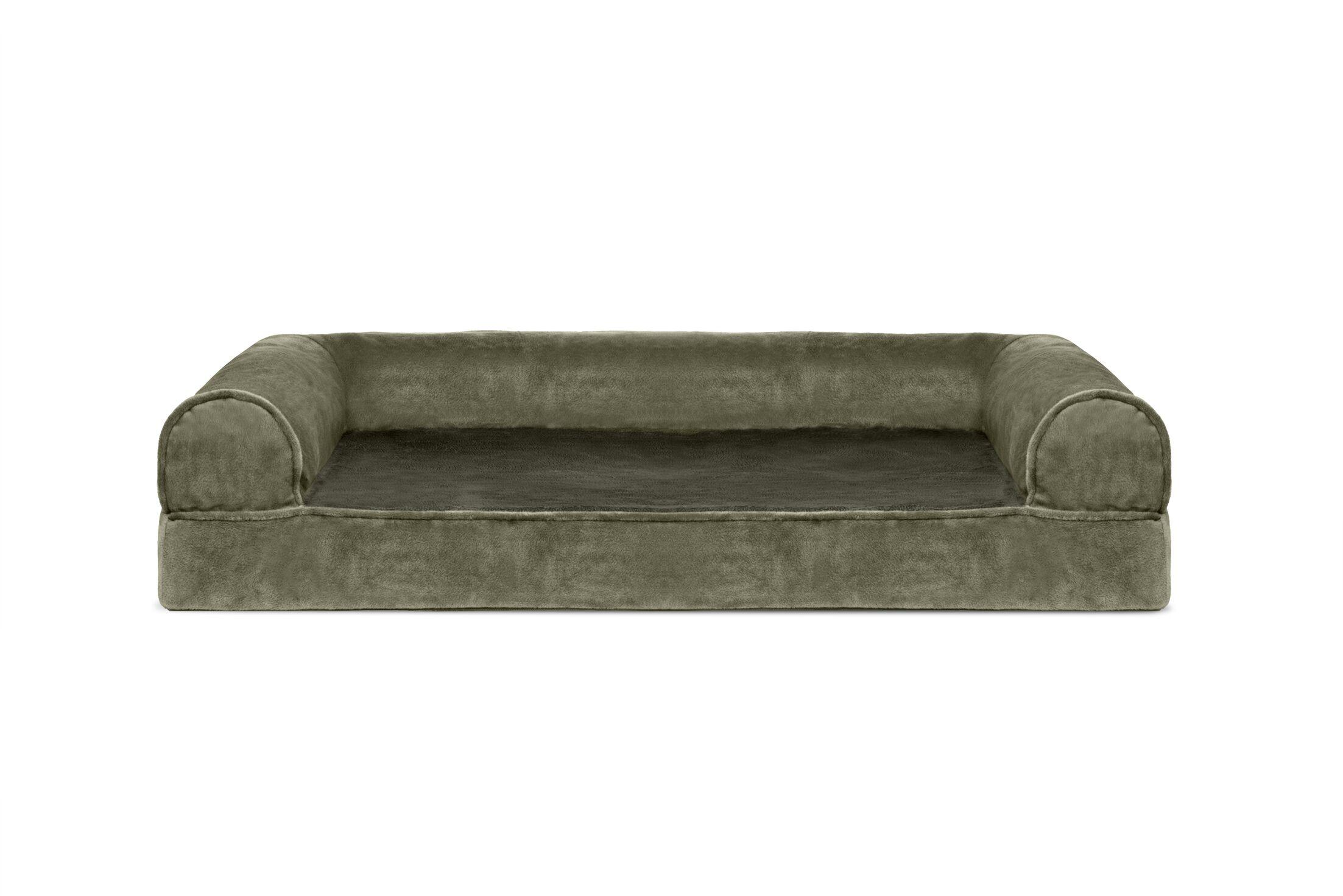 Caddy Faux Fur and Velvet Orthopedic Dog Sofa Color: Dark Sage, Size: Medium (30