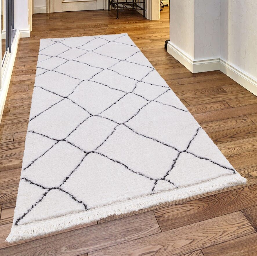 Pilcher White/Charcoal Area Rug Rug Size: Rectangle 2'3