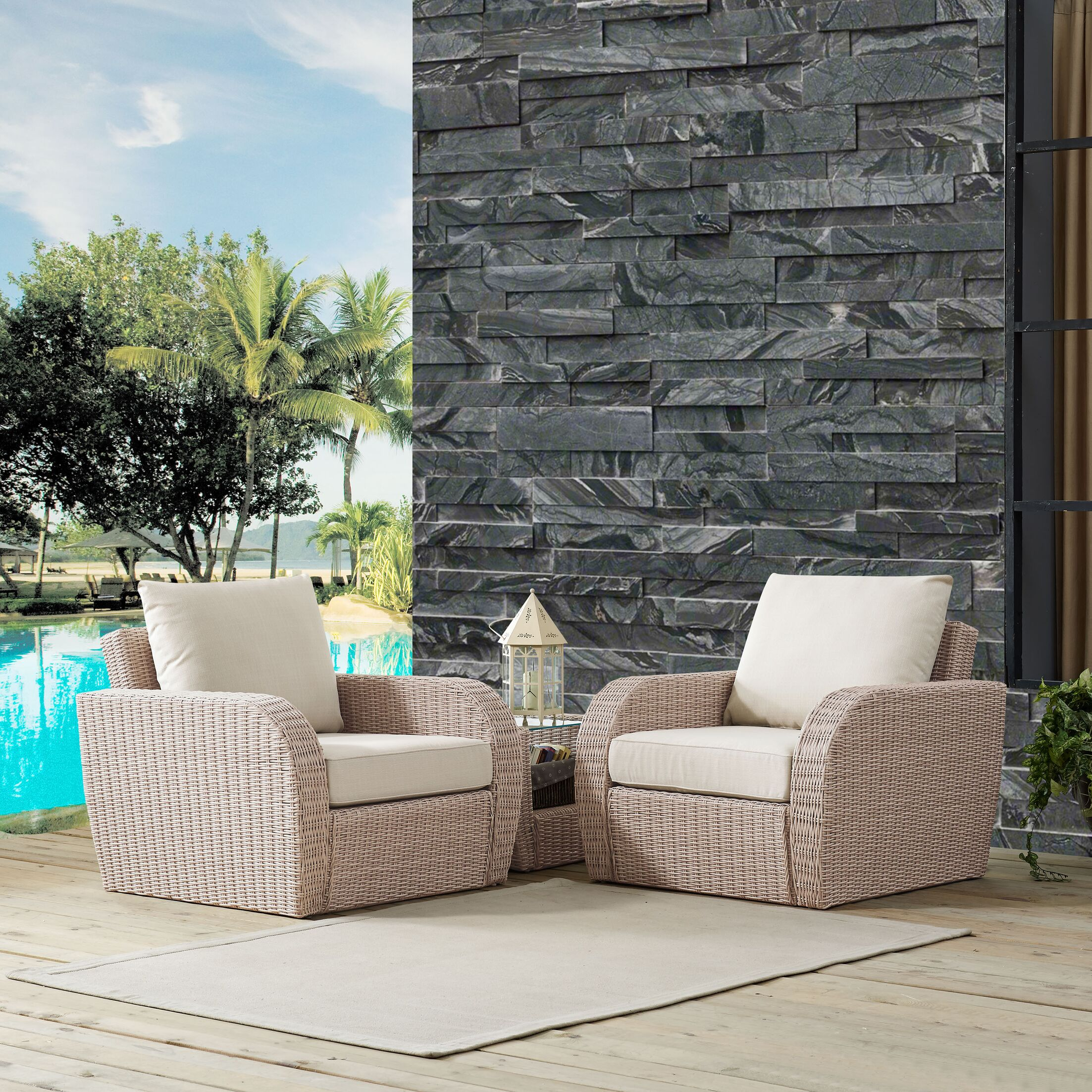 Boomer 3 Piece Conversation Set with Cushions Cushion Color: Oatmeal