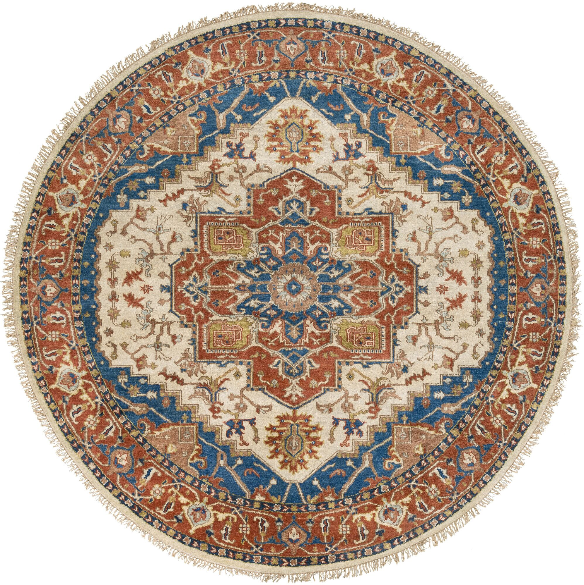 Langham Hand Knotted Wool Burnt Orange/Sky Blue Area Rug Rug Size: Round 8'