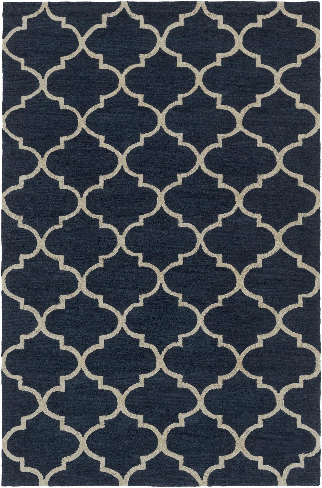 Goshen Hand Tufted Navy/Ivory Area Rug Rug Size: Rectangle 2' x 3'