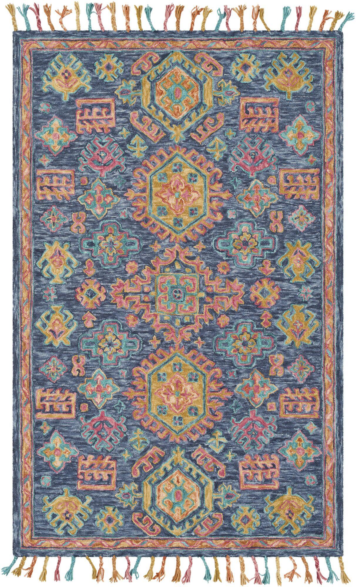 Alongi Hand Hooked Wool Navy/Burnt Orange Area Rug Rug Size: Rectangle 8' x 10'