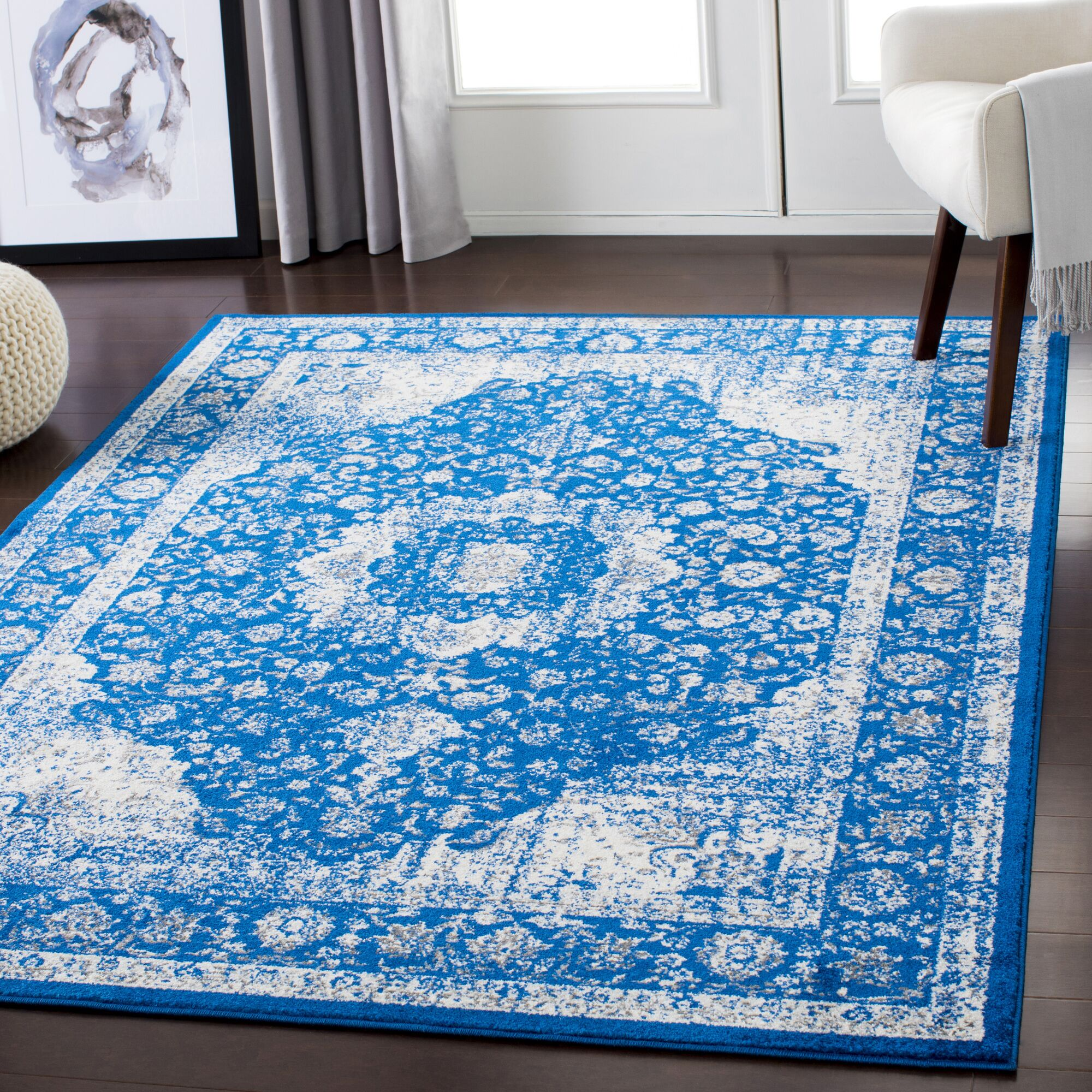 Almendarez Distressed Blue/Ivory Area Rug Rug Size: Rectangle 7'10