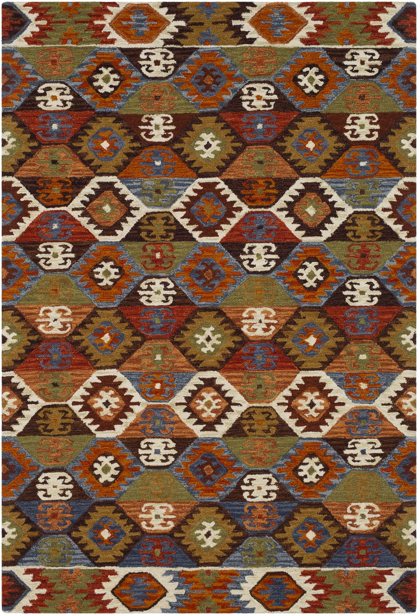 Morais Bohemian Hand Hooked Wool Dark Brown/Rust Area Rug Rug Size: Rectangle 5' x 7'6