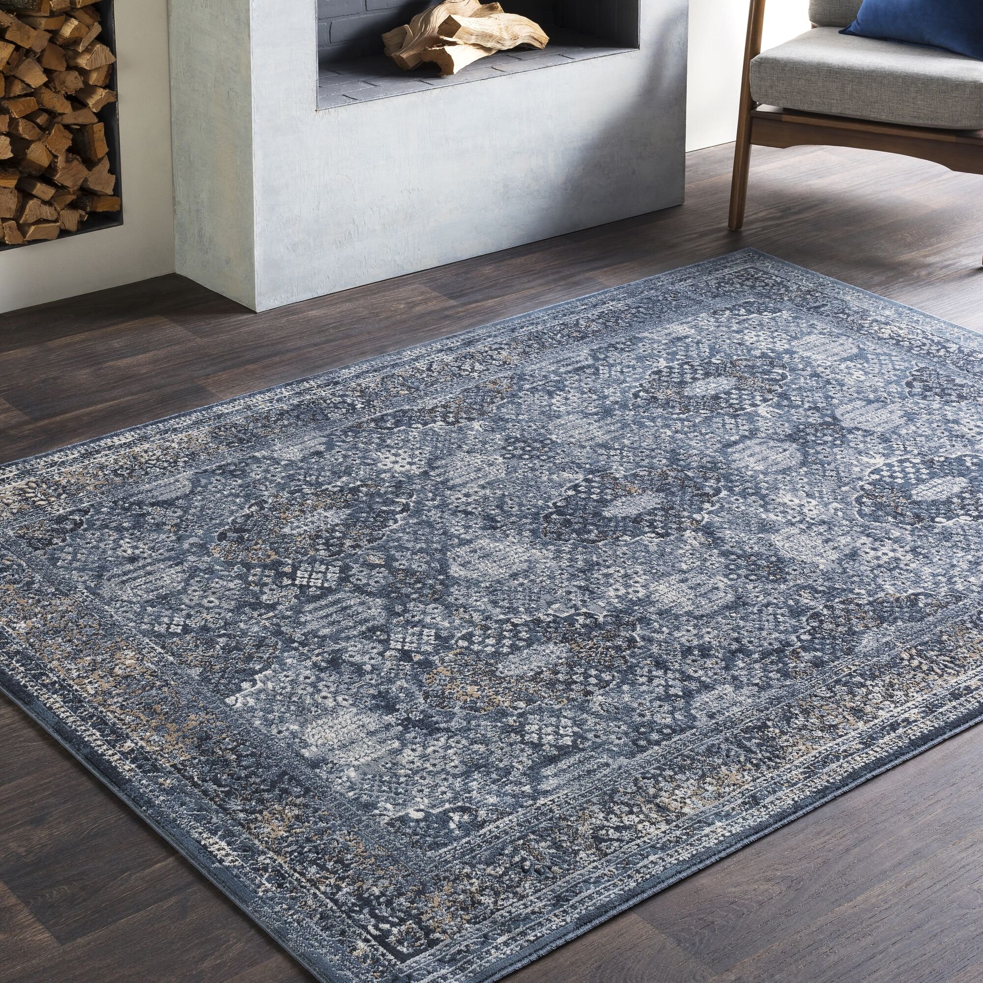 Pickney Distressed Gray/Charcoal Area Rug