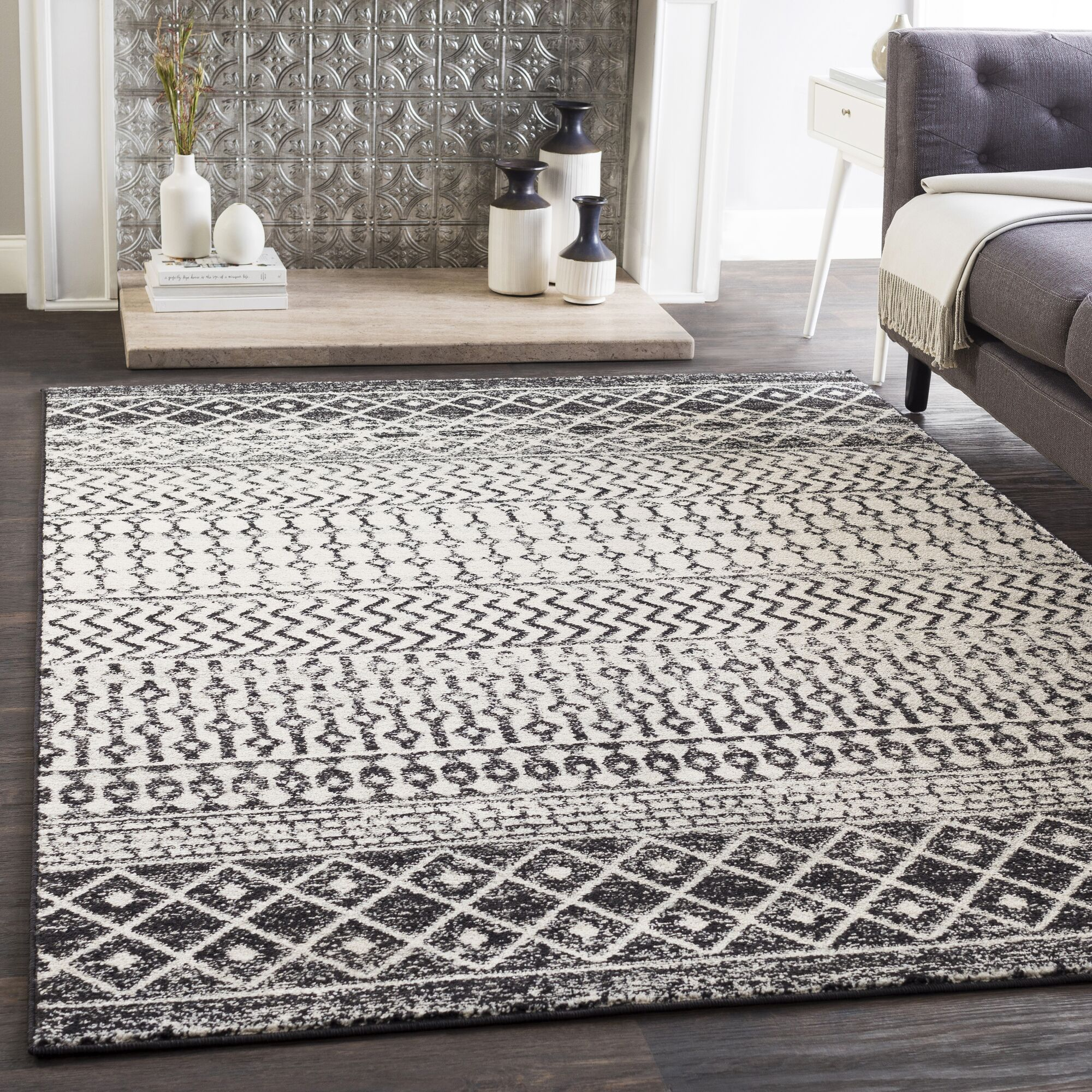 Kreutzer Bohemian Charcoal/Ivory Area Rug Rug Size: Rectangle 7'10