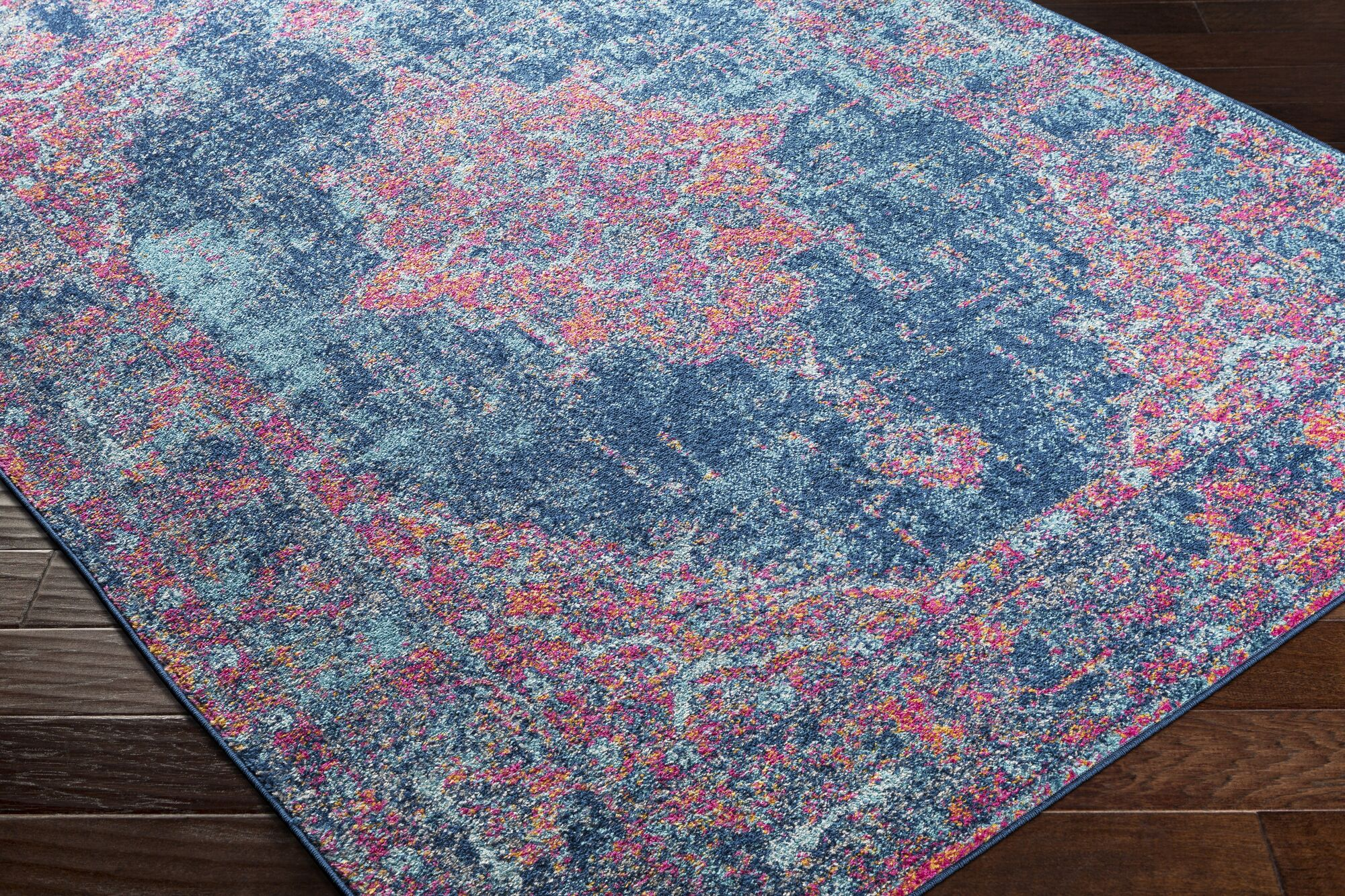Almonte Distressed Pink/Navy Area Rug Rug Size: Runner 2'7