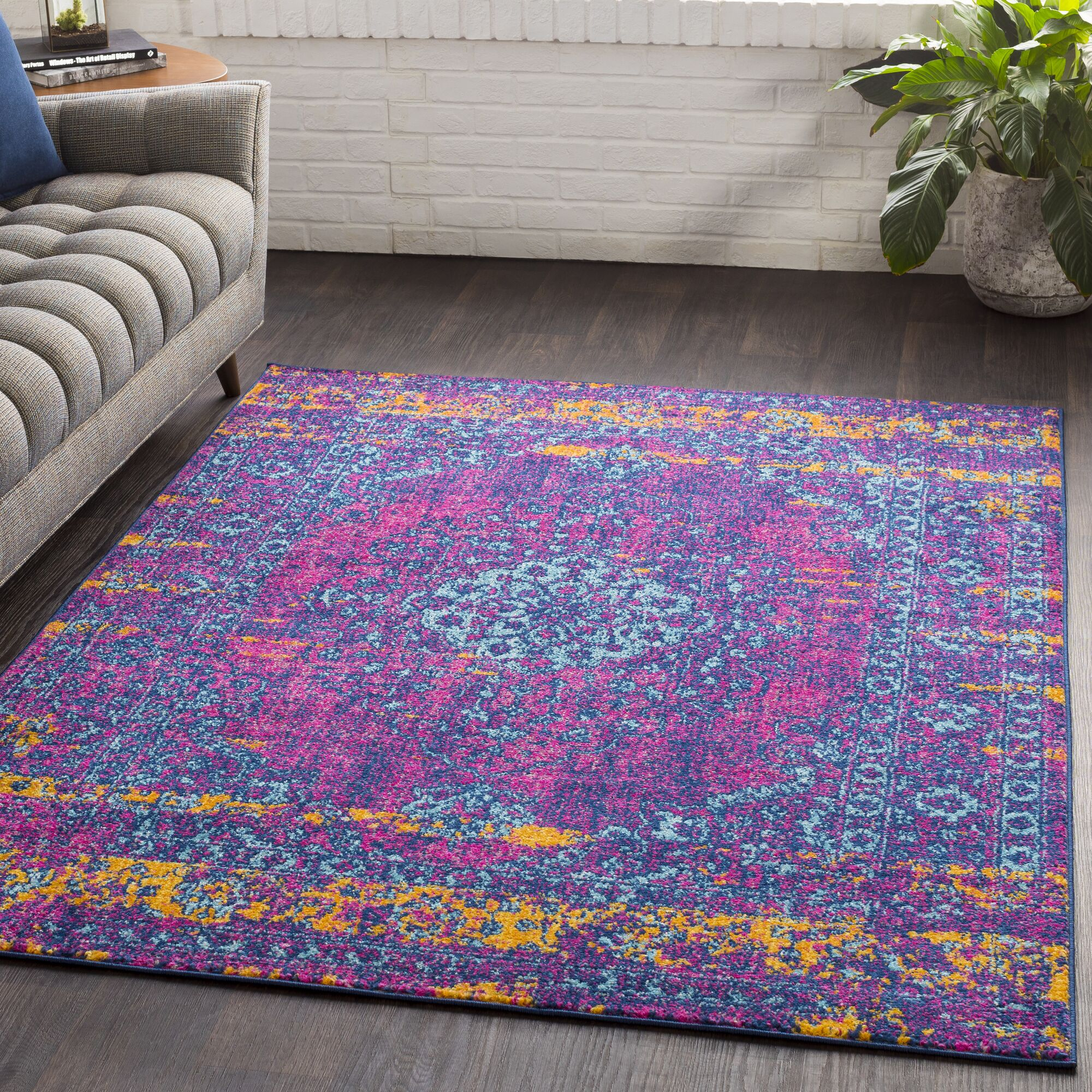 Almonte Distressed Pink/Teal Area Rug Rug Size: Rectangle 5'3