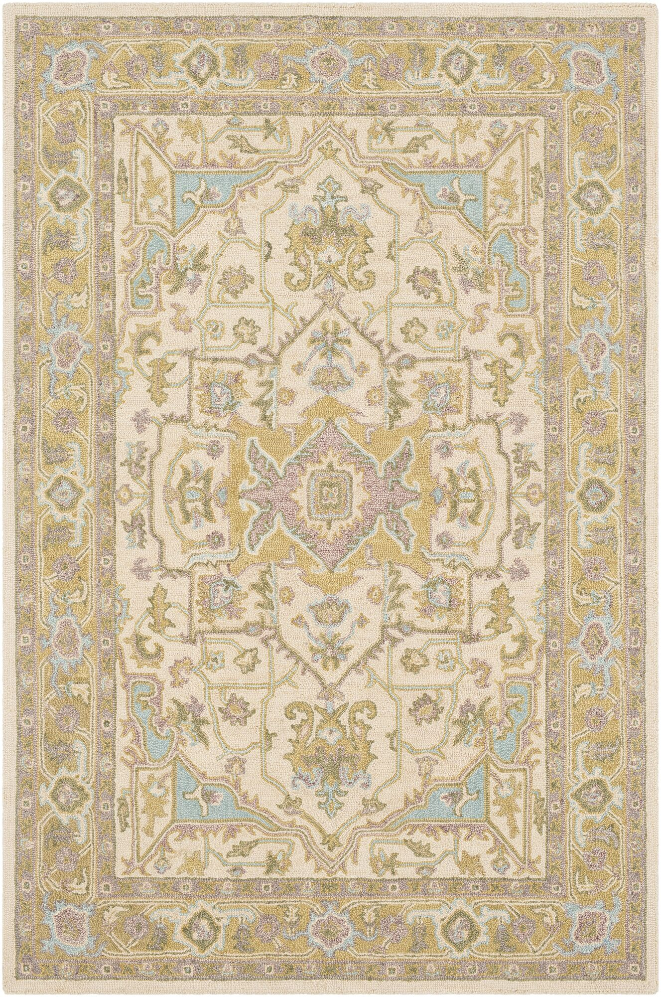 Greater Taree Hand Hooked Wool Olive/Butter Area Rug Rug Size: Rectangle 5' x 7'6