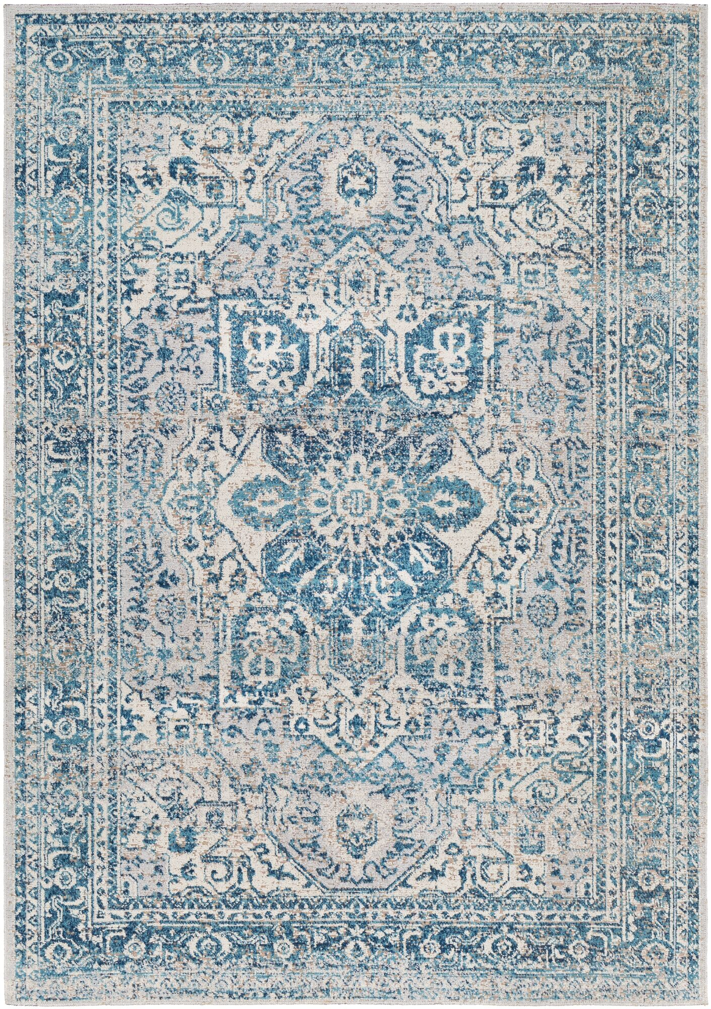 Lancaster Vintage Distressed Teal/Navy Area Rug Rug Size: Rectangle 7'10