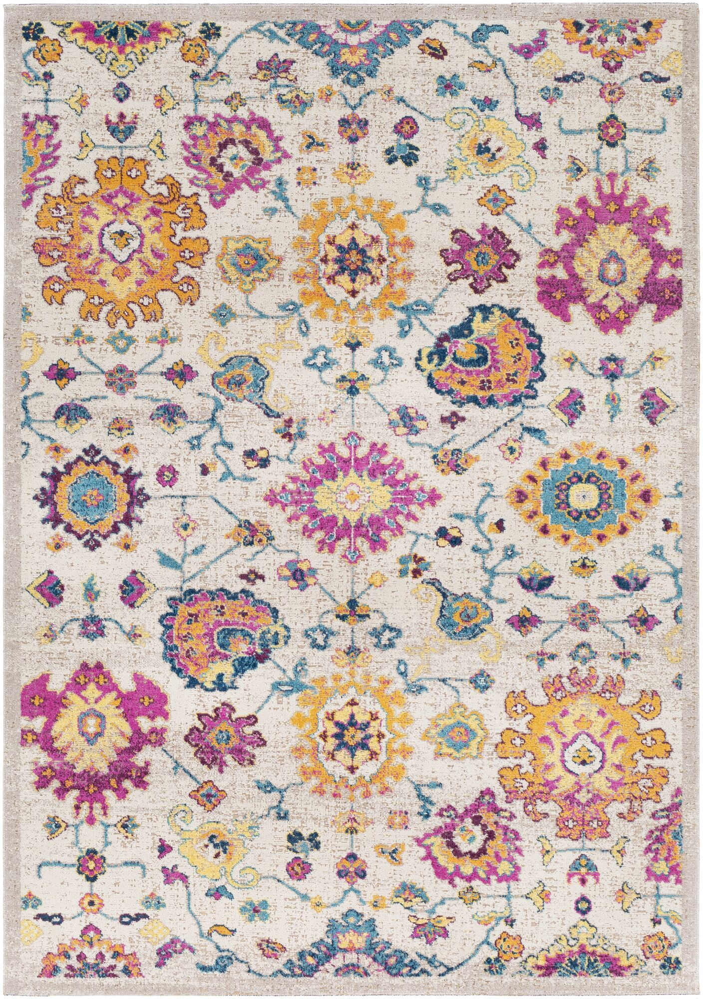 Lancaster Traditional Saffron/Fuschia Area Rug Rug Size: Rectangle 5'2