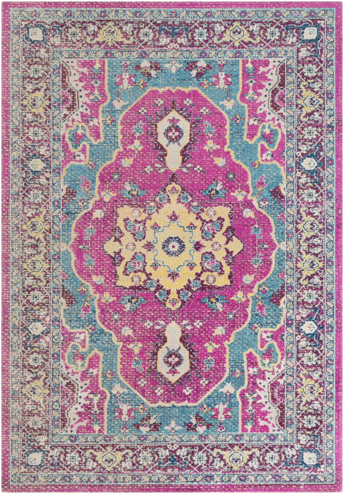Lancaster Traditional Fuschia/Teal Area Rug Rug Size: Rectangle 5'2