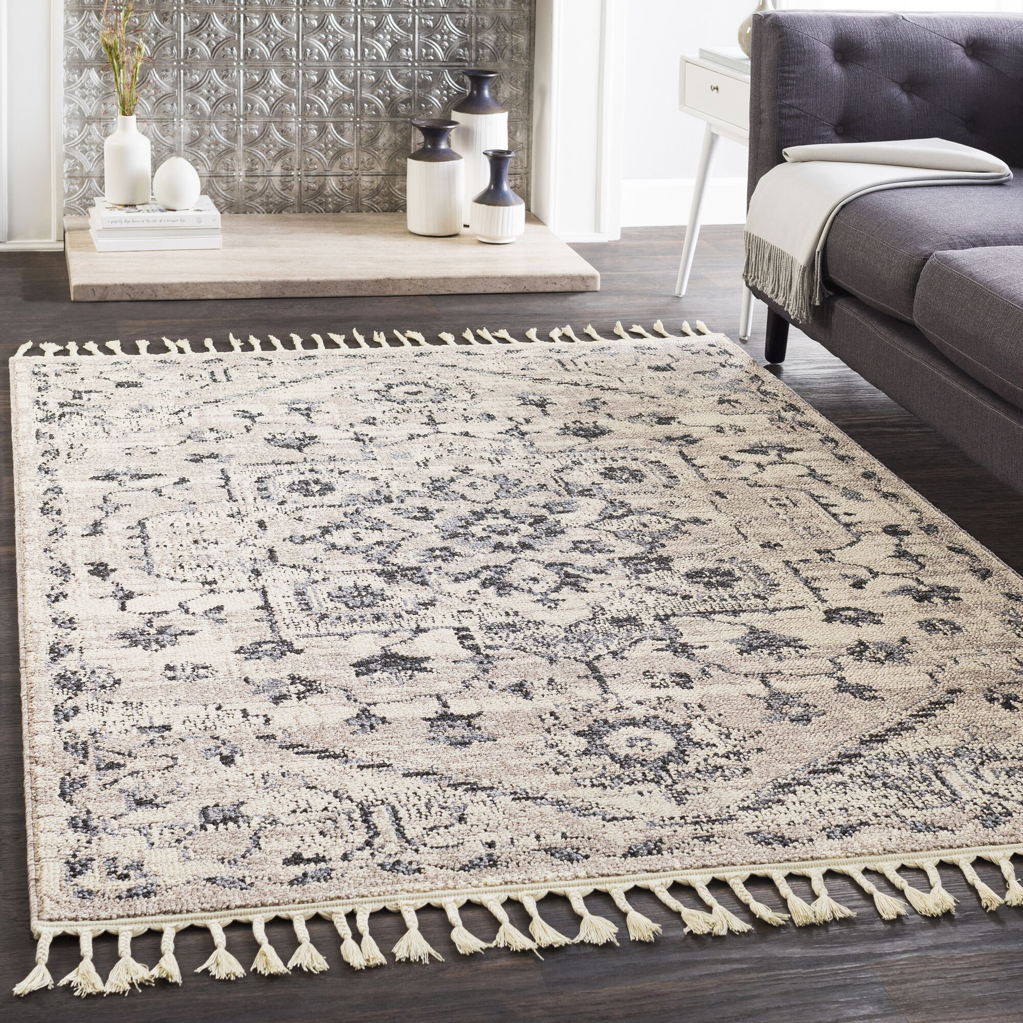 Kenley Distressed Taupe/Charcoal Area Rug Rug Size: Runner 2'7