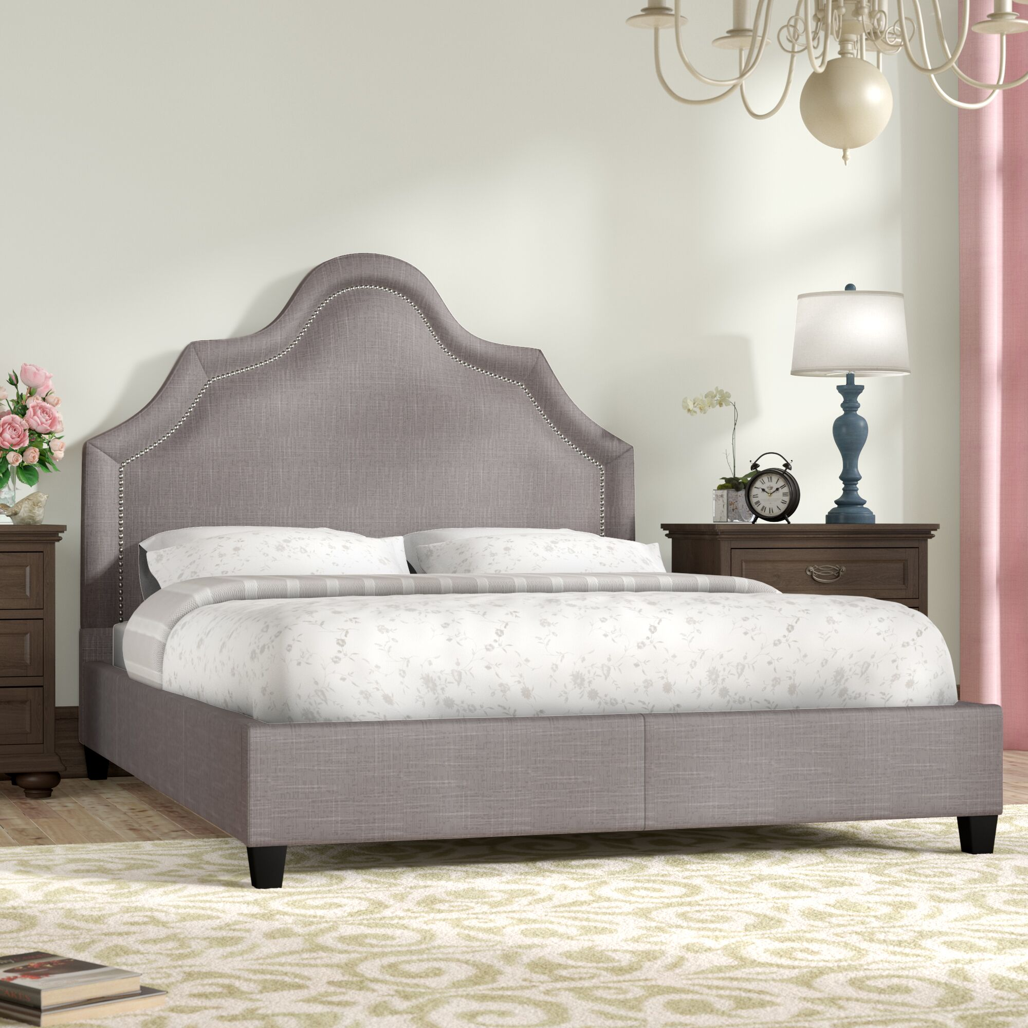 Humphries Upholstered Panel Bed Color: Gray, Size: Queen