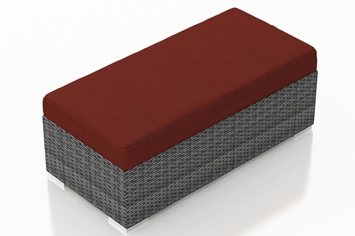 District Double Ottoman with Cushion Fabric: Canvas Henna