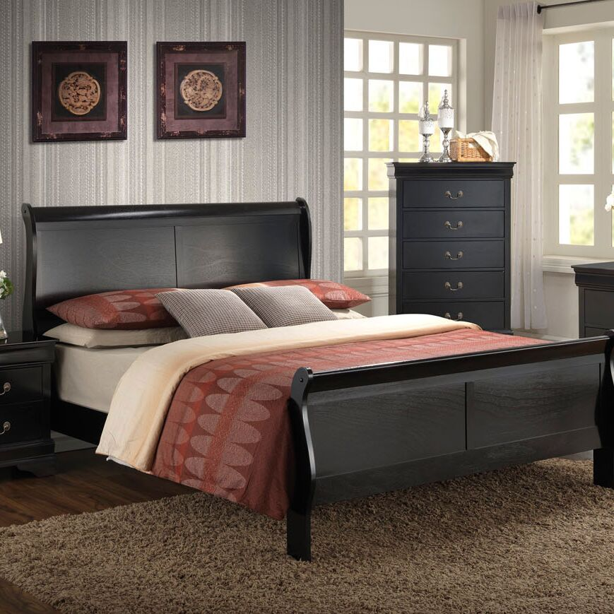 Sahil Sleigh Bed Size: Twin, Color: Black
