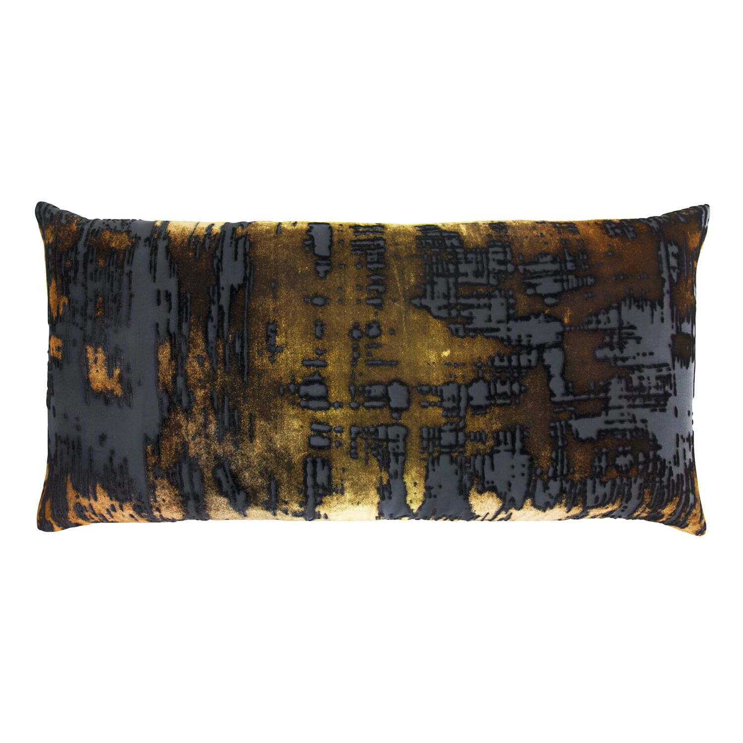 Brushstroke Velvet Lumbar Pillow Color: Copper Ivy