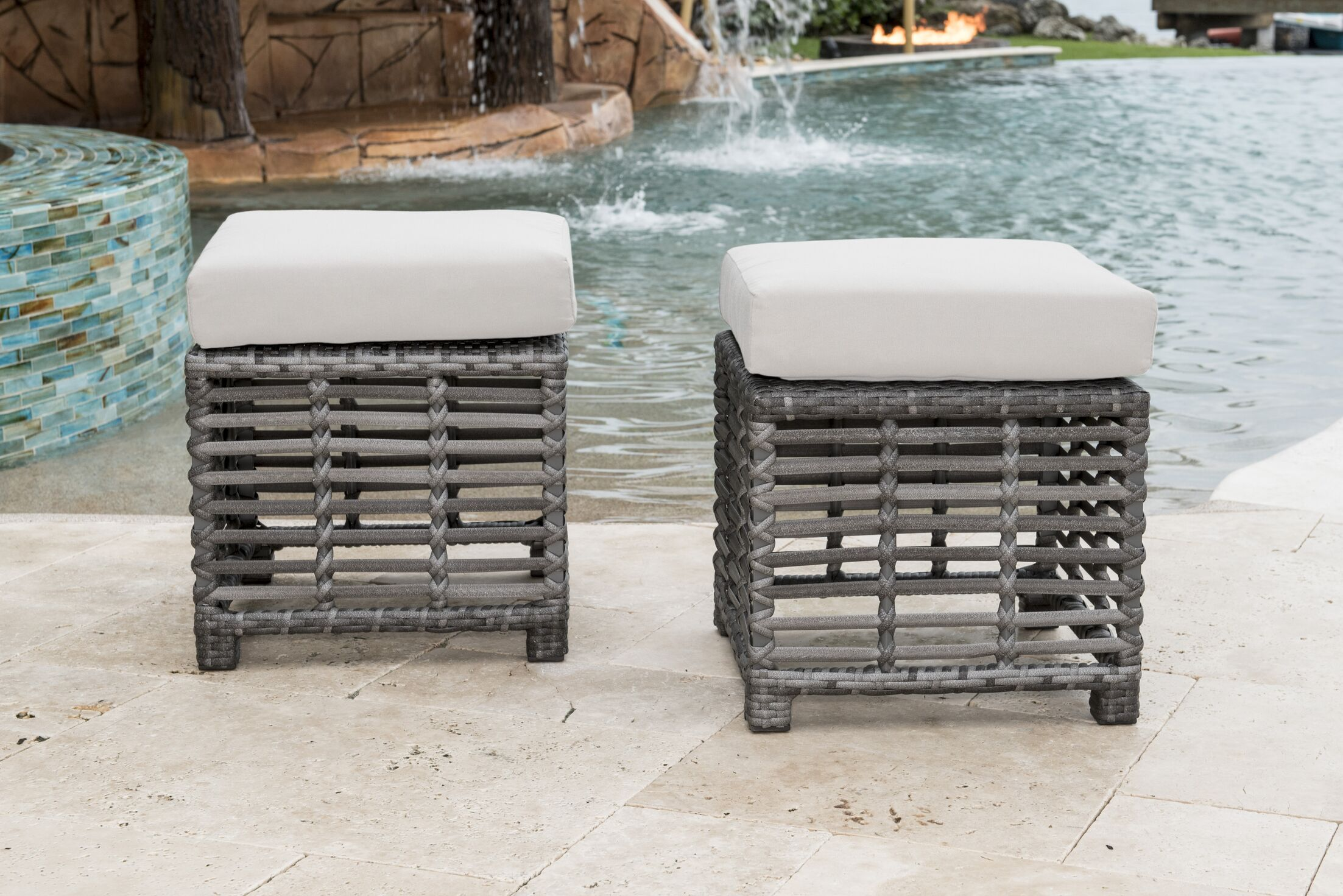 Outdoor Ottoman with Cushion