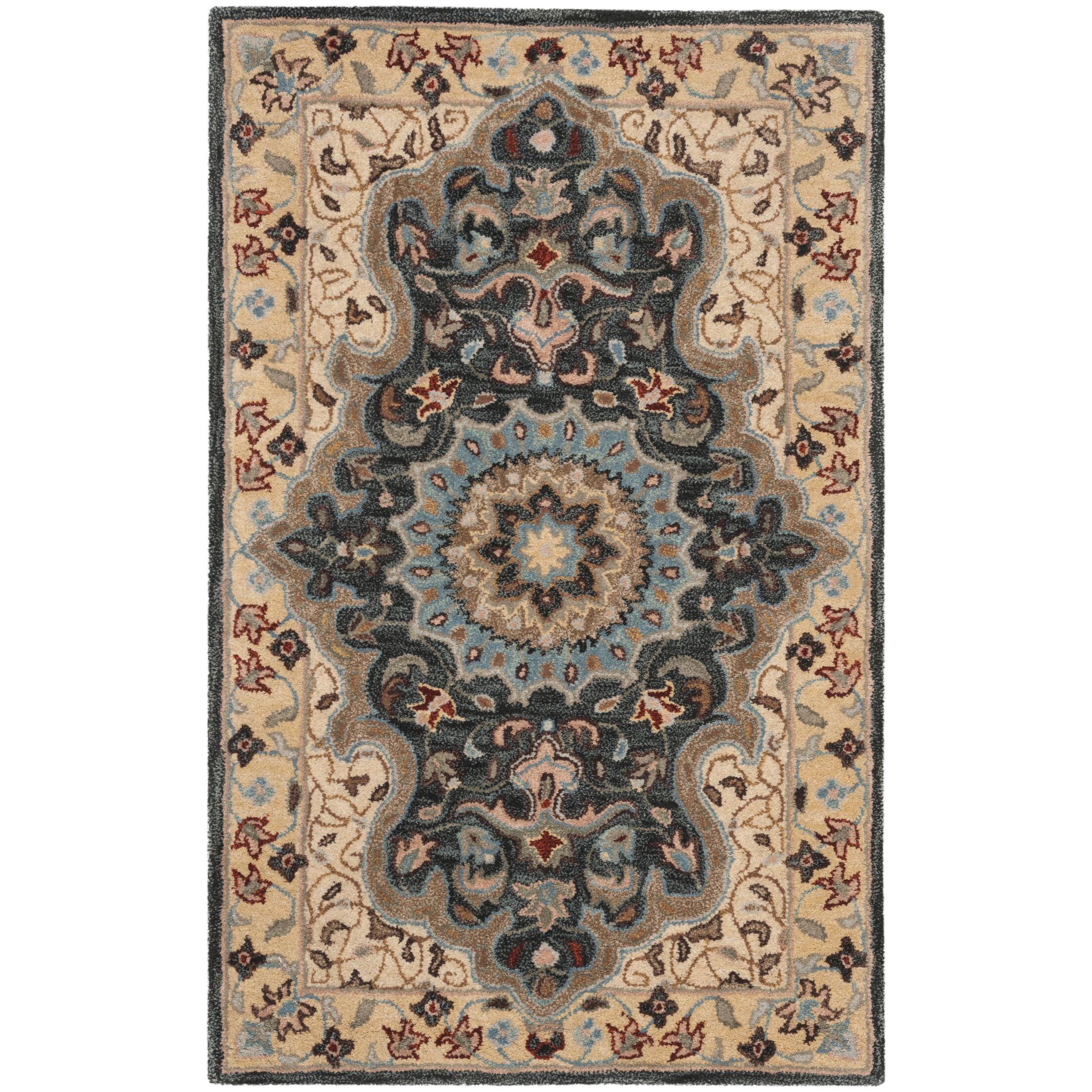 Kuhlman Hand-Woven Wool Cream/Black Area Rug Rug Size: Rectangular 4' x 6'