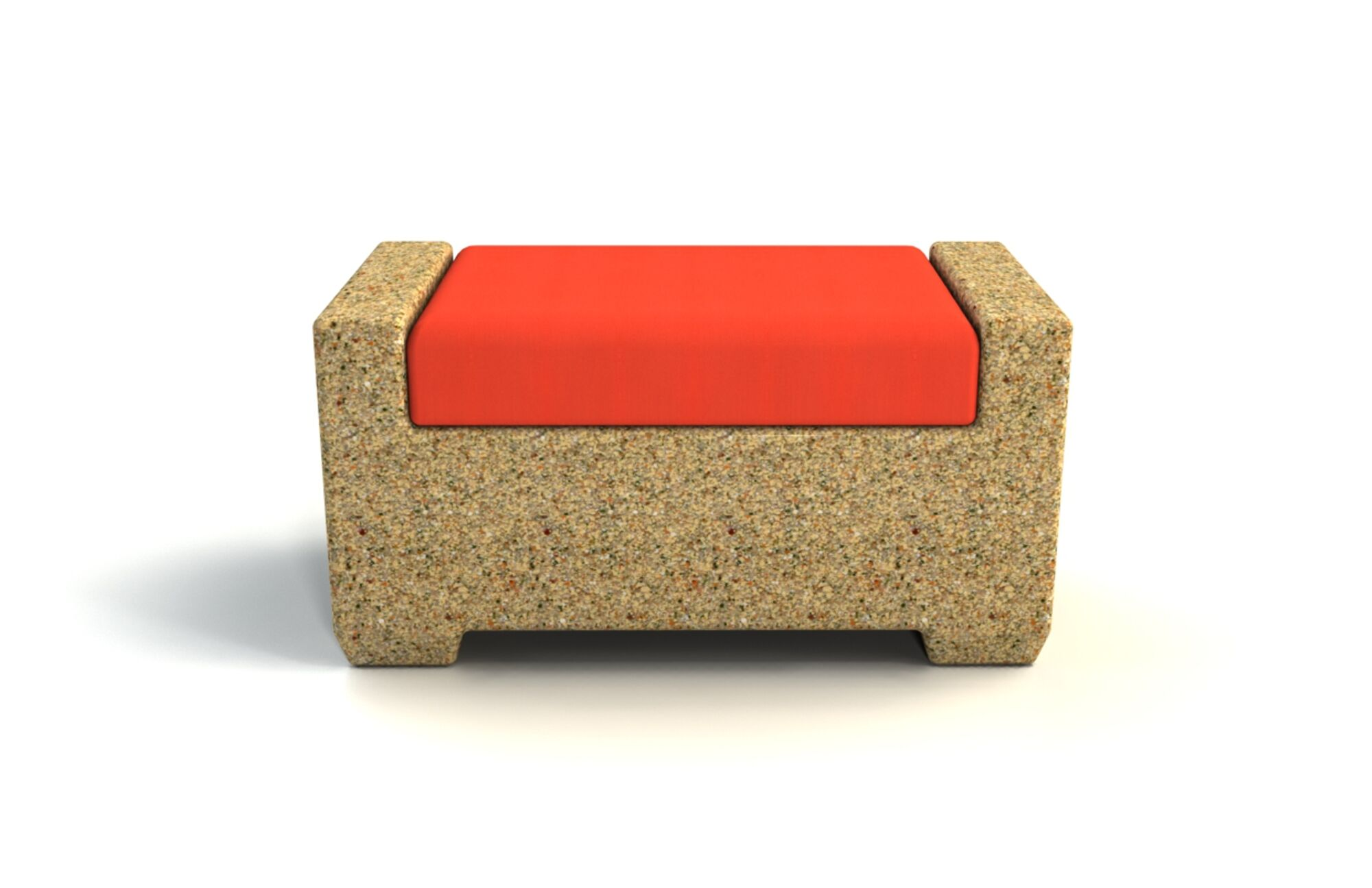 Sturtevant Ottoman with Cushion Cushion Color: Coral, Frame Color: Sandstone