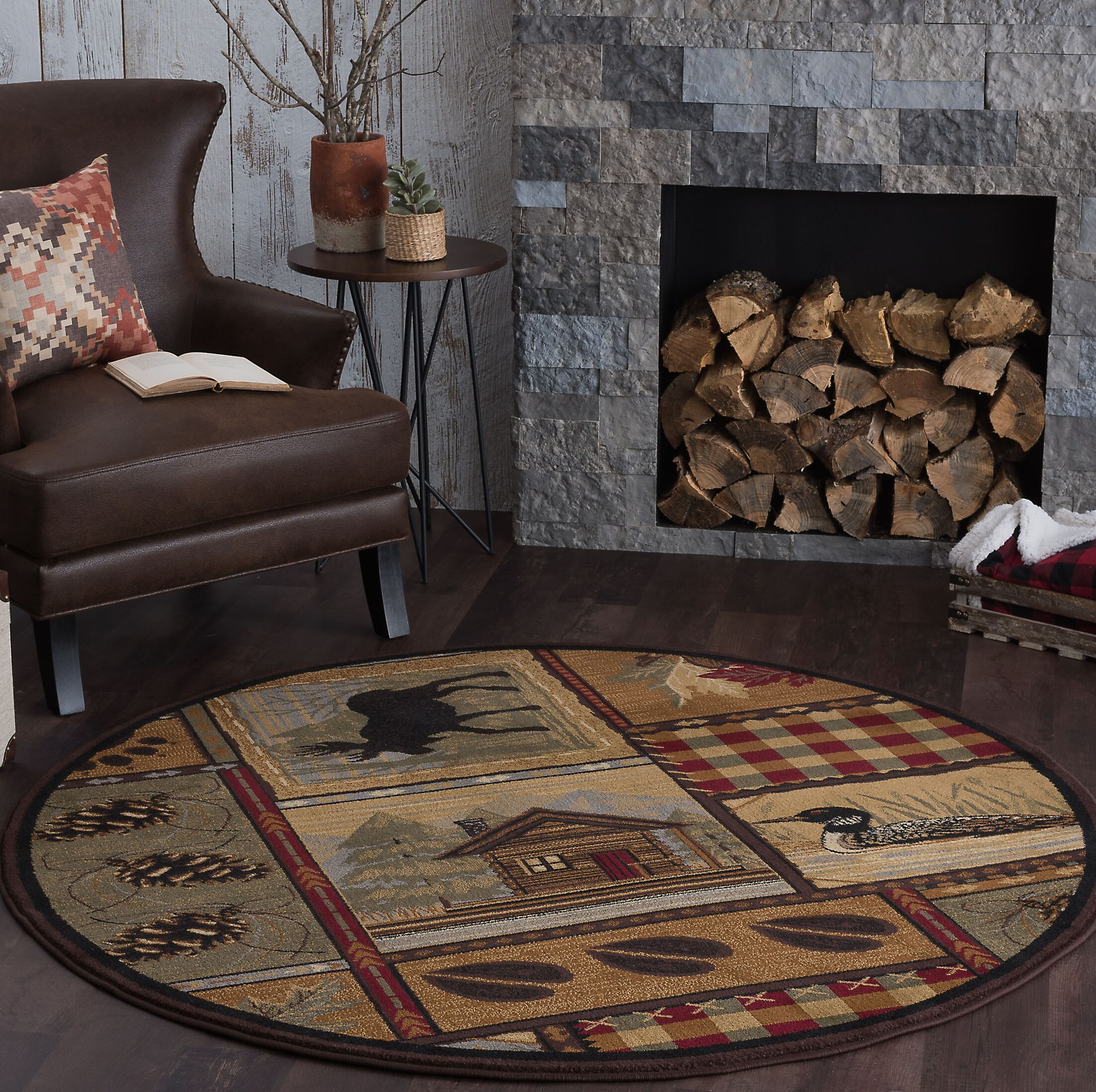 Alers Brown Area Rug Rug Size: 7'10'' Round