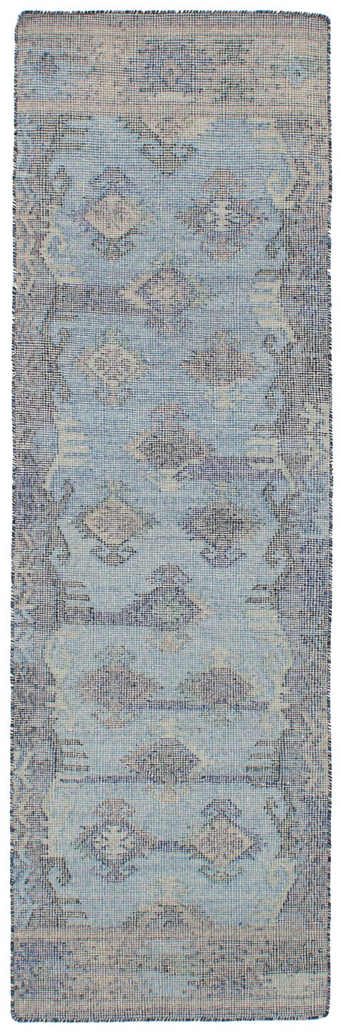 Bevers Hand Flat Woven Wool Light Blue Area Rug Rug Size: Runner 2'6