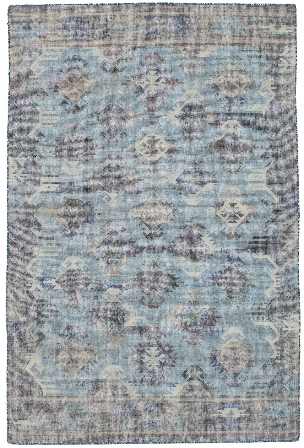 Bevers Hand Flat Woven Wool Light Blue Area Rug Rug Size: Rectangle 4'11