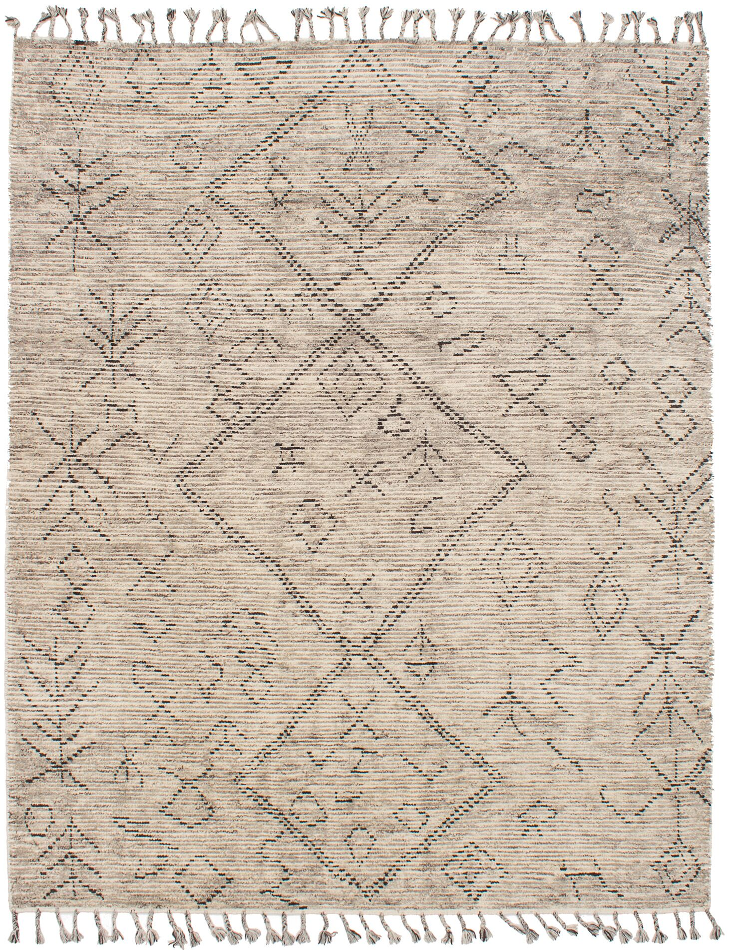 Canales Hand-Knotted Wool Cream Area Rug Rug Size: Rectangle 8' x 10'