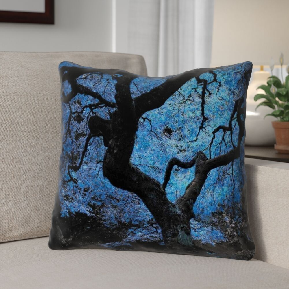 Ghost Train Blue Japanese Maple Tree Throw Pillow Size: 20
