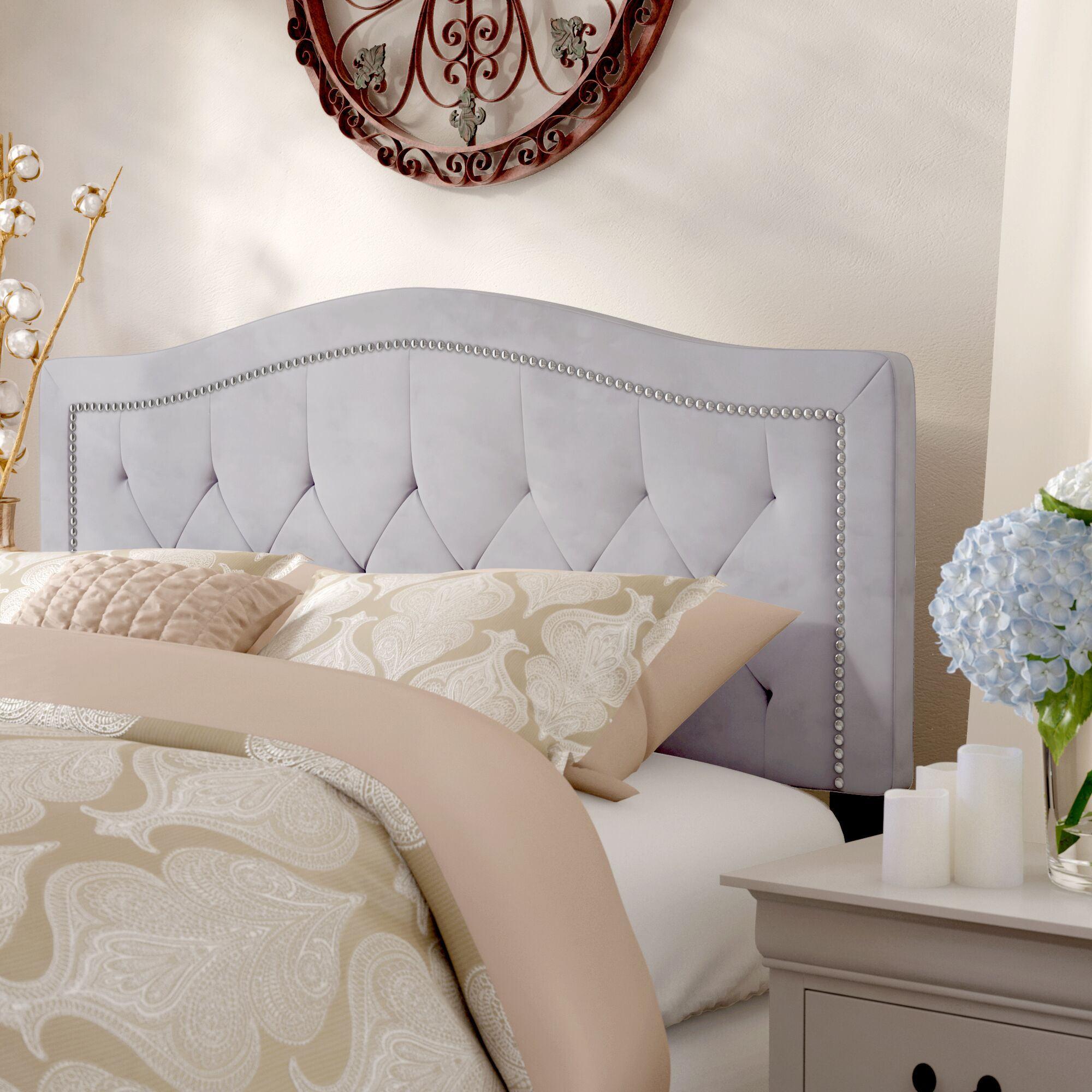 Derby Arched Upholstered Panel Headboard Size: Queen, Upholstery: Smoke