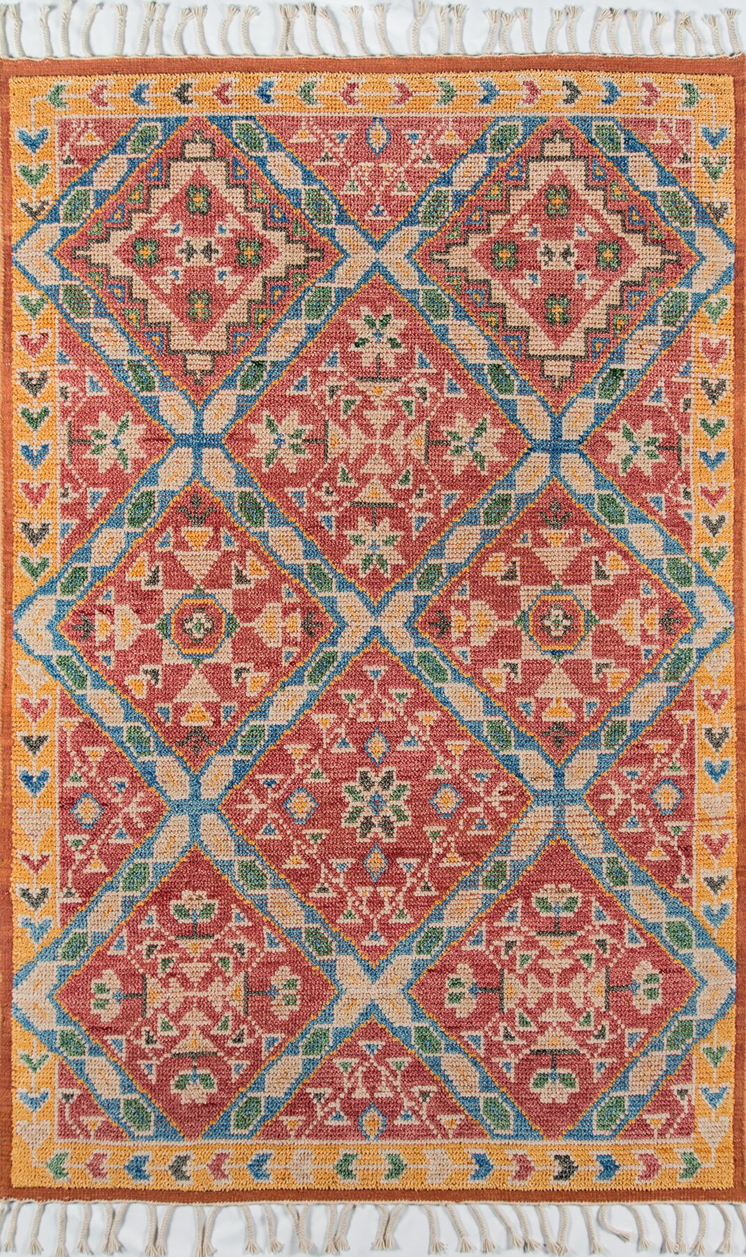 Chenoweth Hand-Knotted Wool Red/Yellow Area Rug Rug Size: Rectangle 8' X 11'