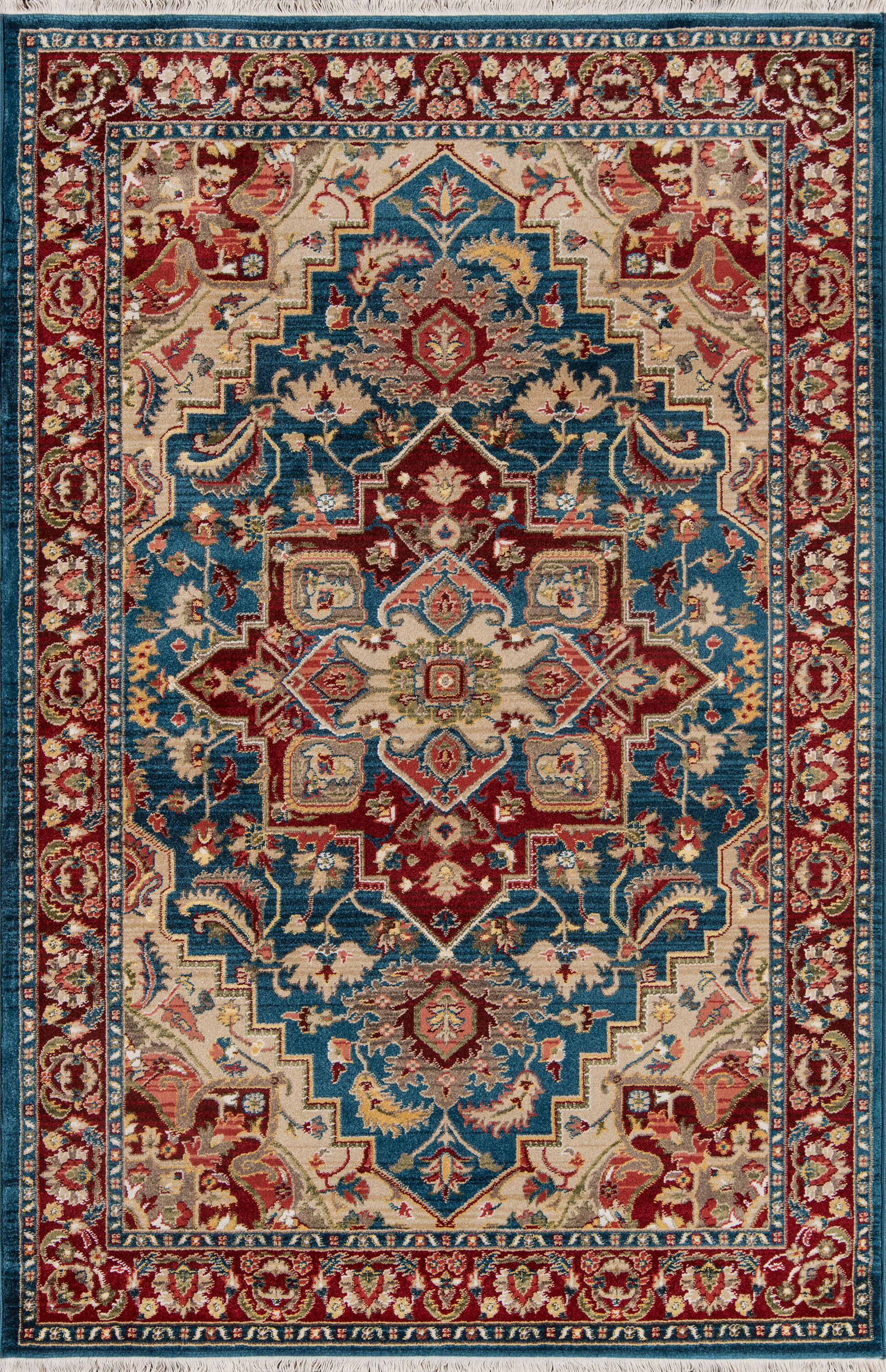 Ebner Blue/Red Area Rug Rug Size: Rectangle 5' X 7'5