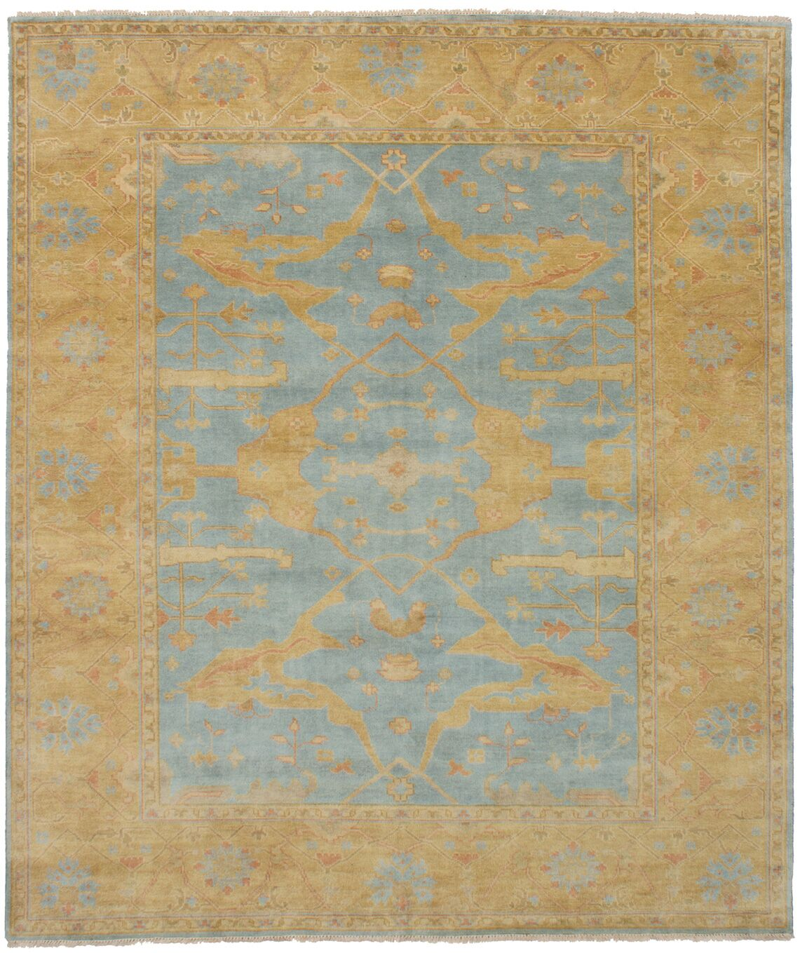 One-of-a-Kind Doggett Hand Knotted Wool Sky Blue Area Rug