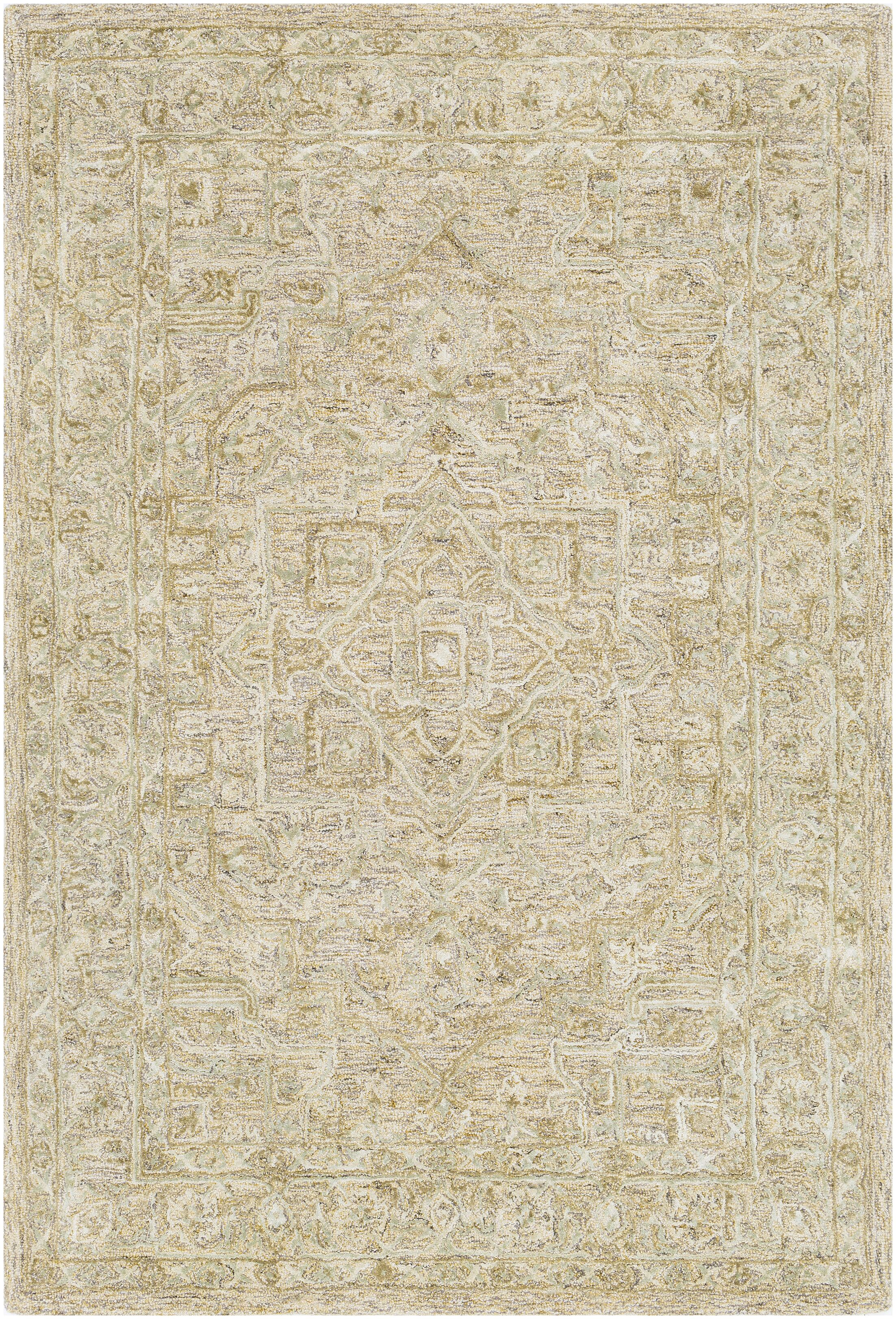 Jambi Traditional Hand Tufted Wool Tan/Beige Area Rug Rug Size: Rectangle 5' x 7'6