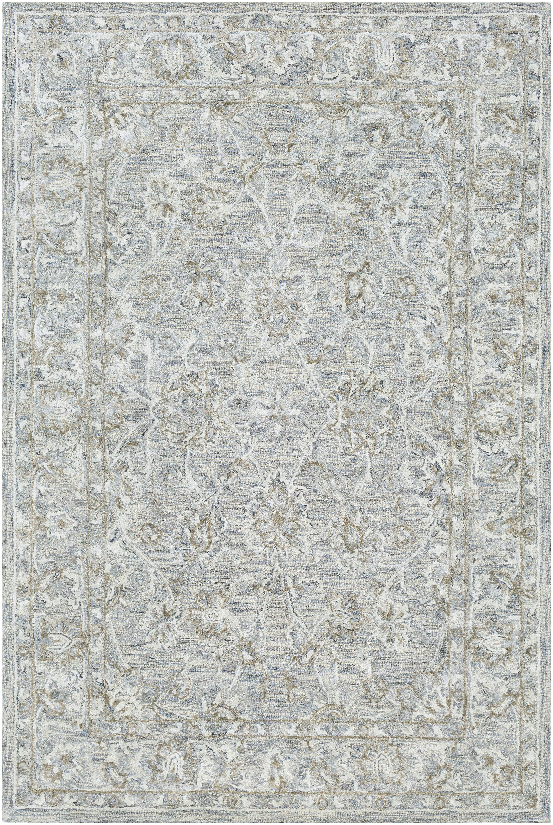 Jambi Traditional Hand-Tufted Wool Light Blue/Camel Area Rug Rug Size: Rectangle 2' x 3'