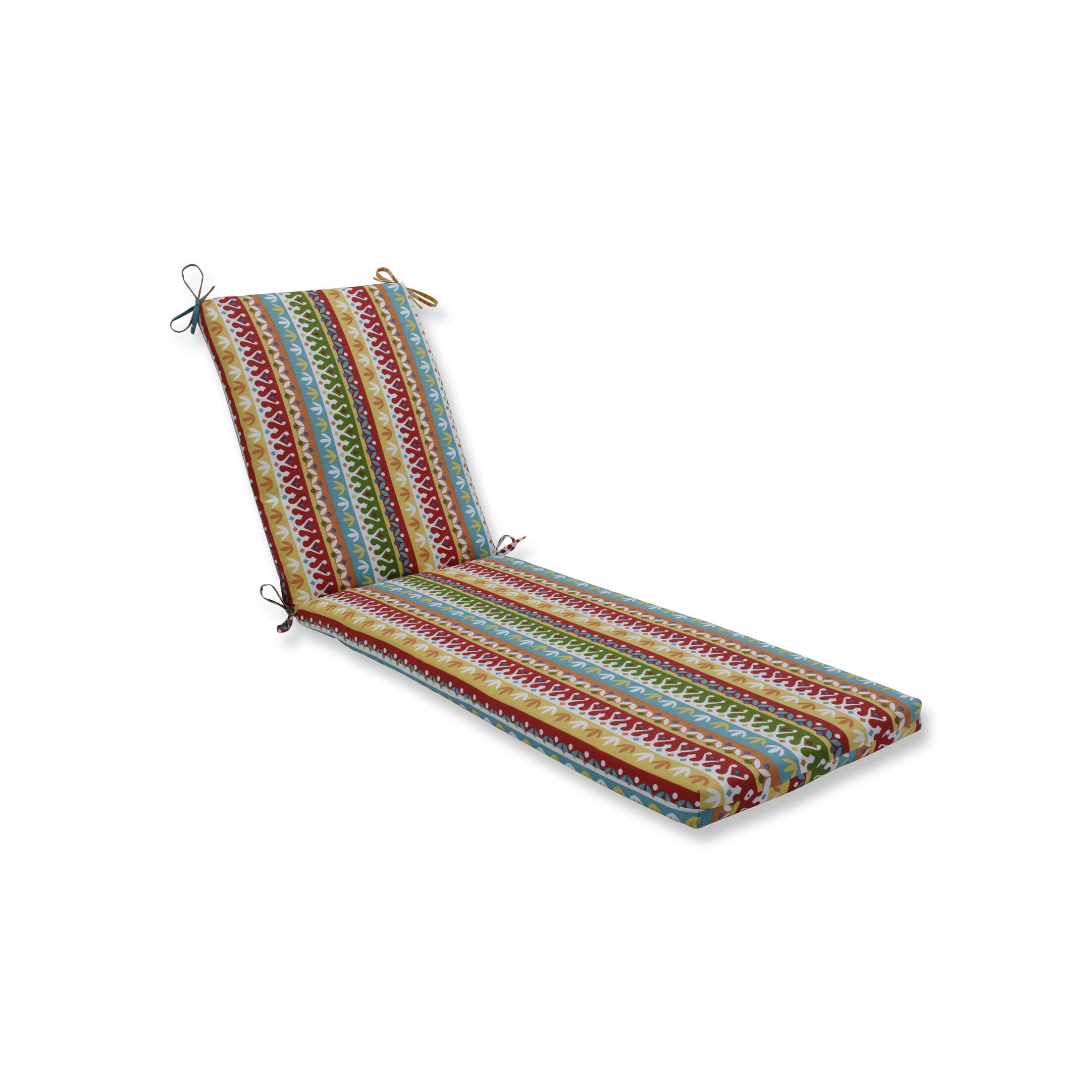 Indoor/Outdoor Chaise Lounge Cushion Fabric: Red/Blue/Green