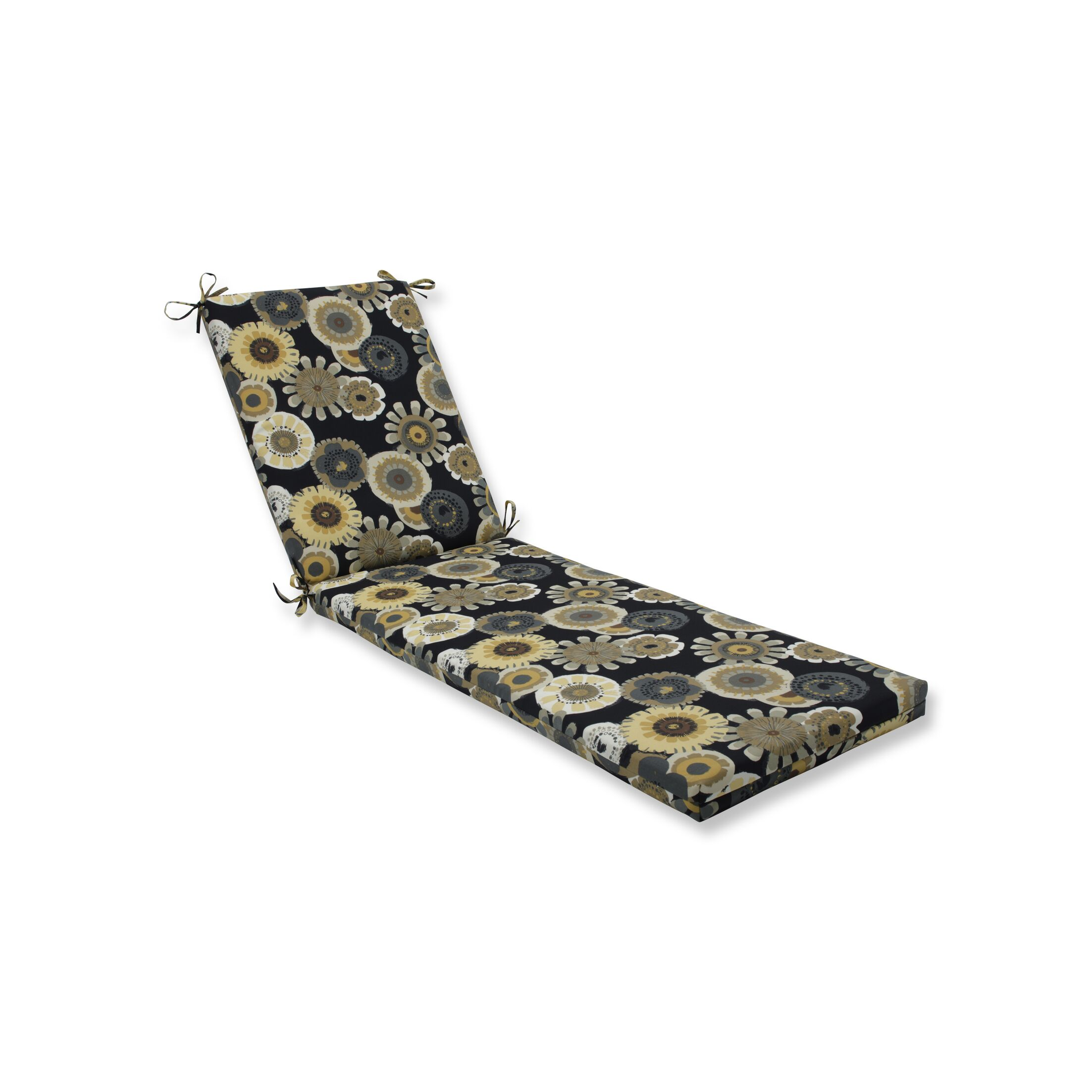 Indoor/Outdoor Chaise Lounge Cushion Fabric: Black/Yelloe