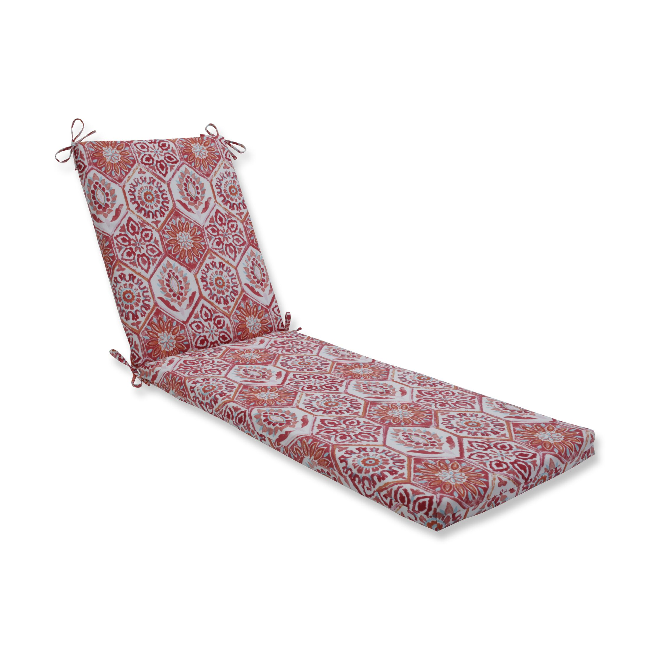Indoor/Outdoor Chaise Lounge Cushion Fabric: Red