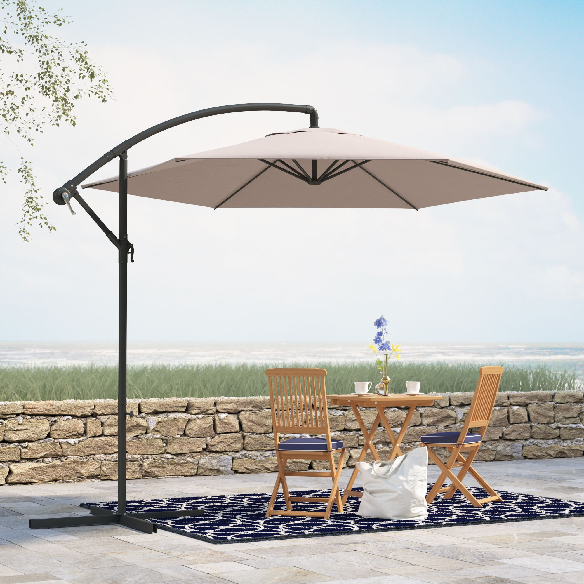 Alyssa 10' Cantilever Umbrella Fabric: Mocha