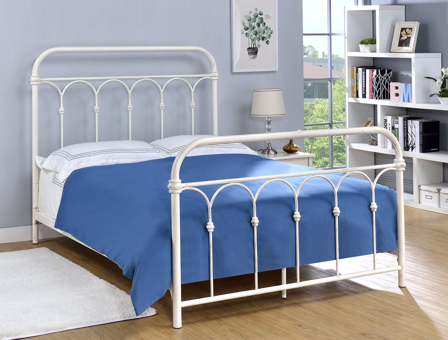 Letterly Open-Frame Headboard Size: King, Color: Rust Black