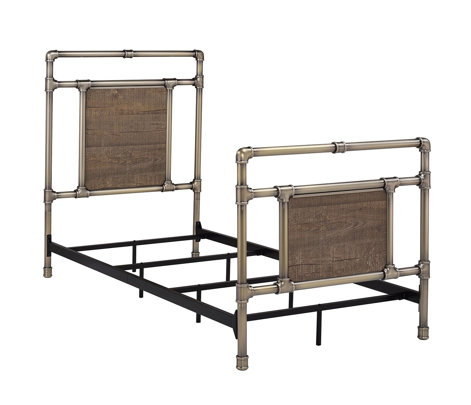 Letson Panel Bed Color: Antique Brass, Size: King