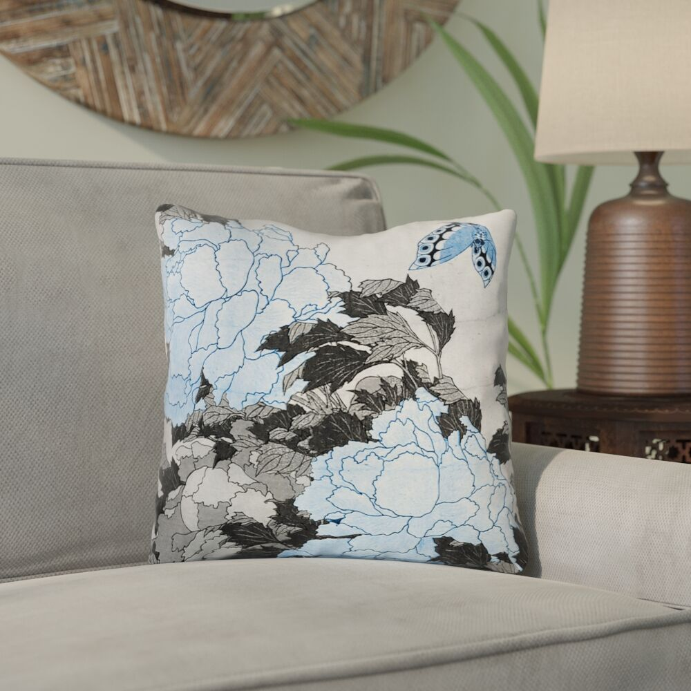 Clair Peonies and Butterfly Outdoor Square Throw Pillow Size: 20