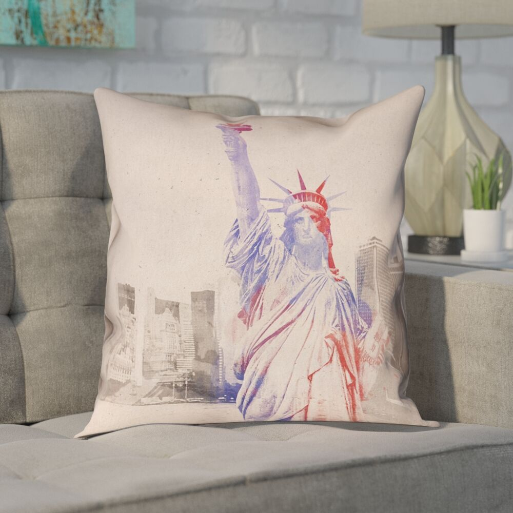 Houck Contemporary Watercolor Statue of Liberty Square Pillow Cover Size: 16