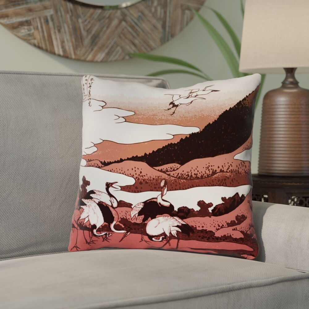 Montreal Japanese Cranes Square Double Sided Print Throw Pillow Size: 18