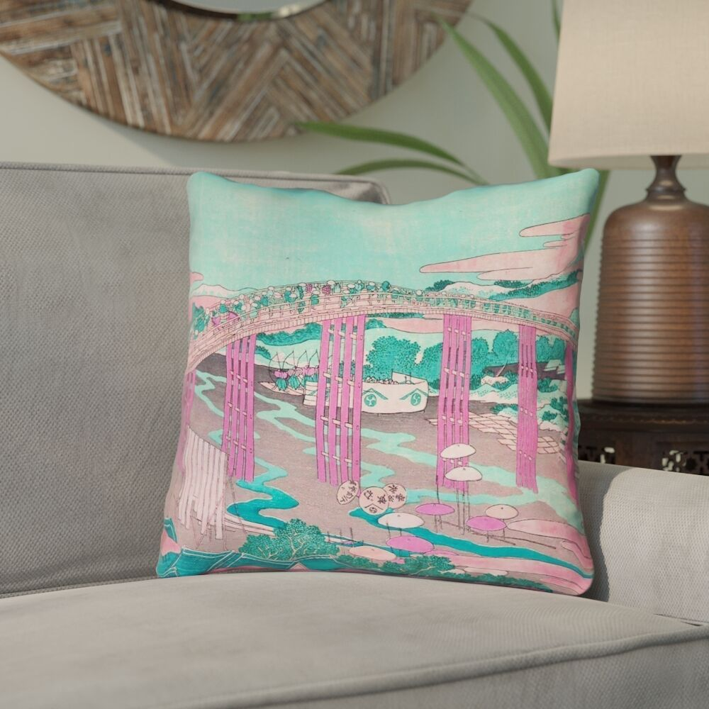 Enya Japanese Bridge Throw Pillow Size: 26