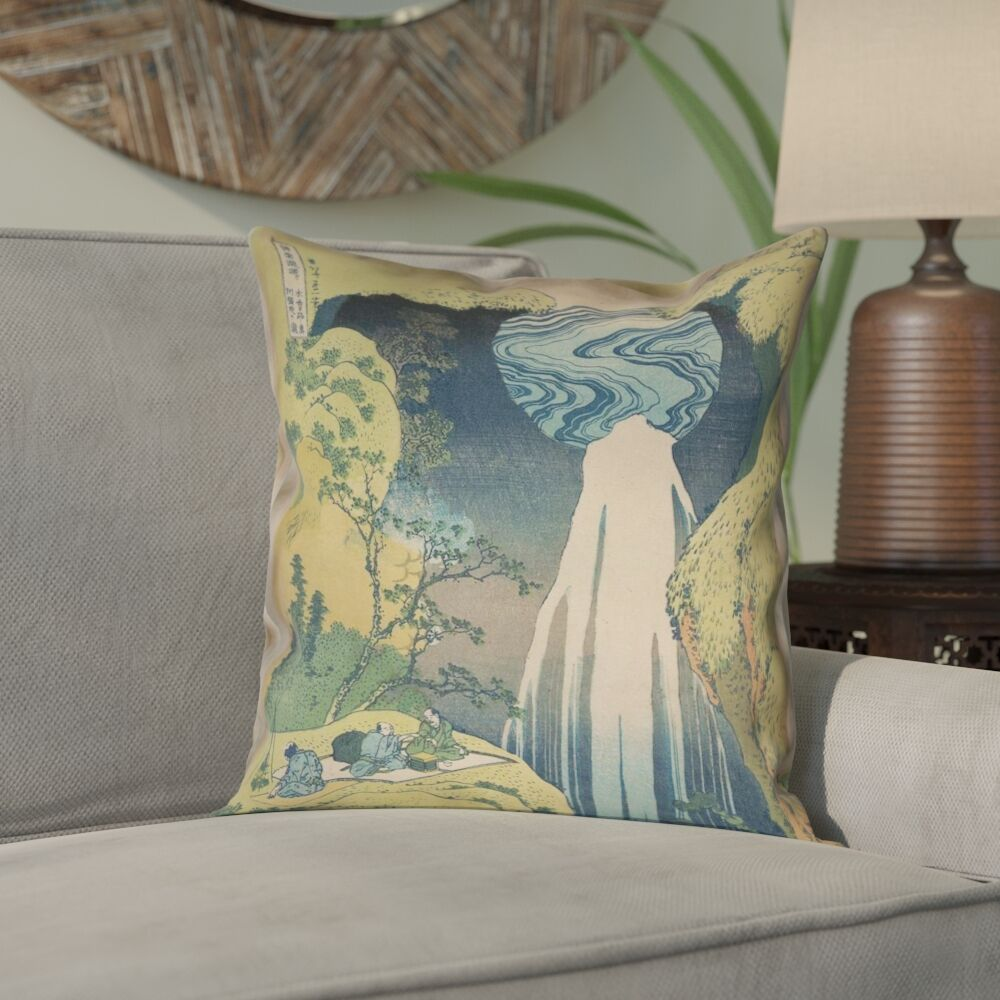 Rinan Japanese Waterfall Pillow Cover Size: 18