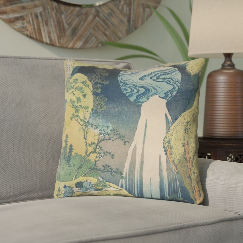 Rinan Japanese Waterfall Square Throw Pillow Size: 18