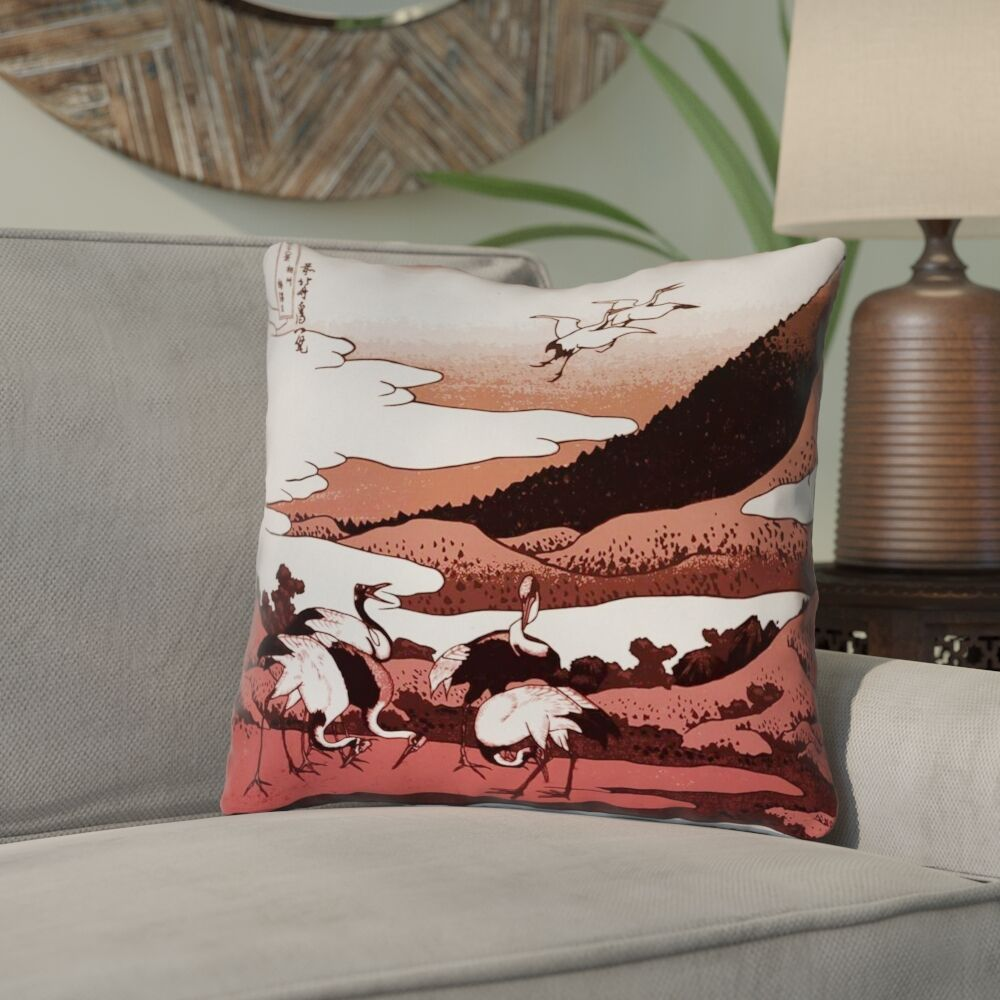 Montreal Japanese Cranes Square Indoor Throw Pillow Size: 18
