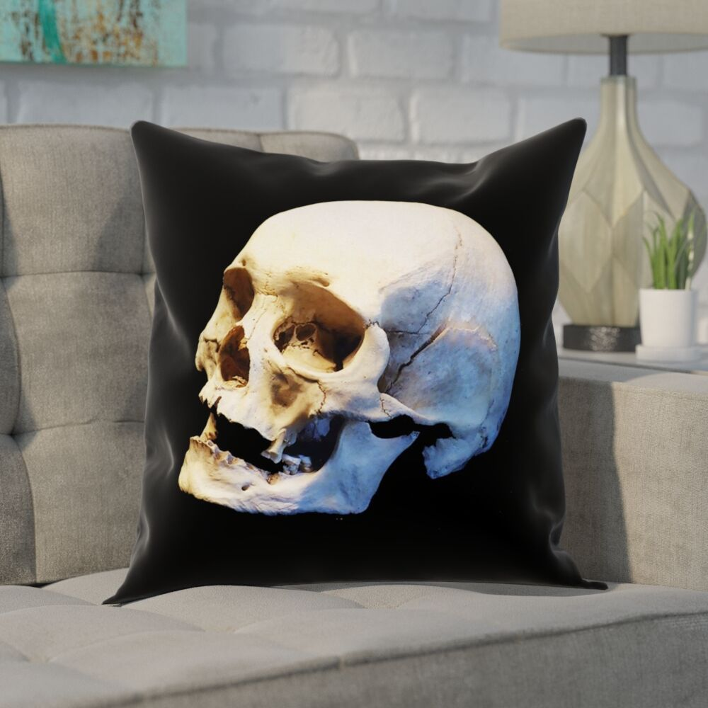 Mensa Skull Pillow Cover with Zipper Size: 26